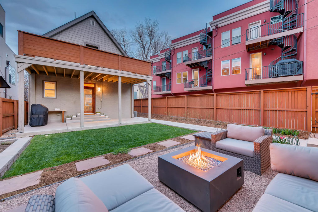 Backyard with seating area and firepit