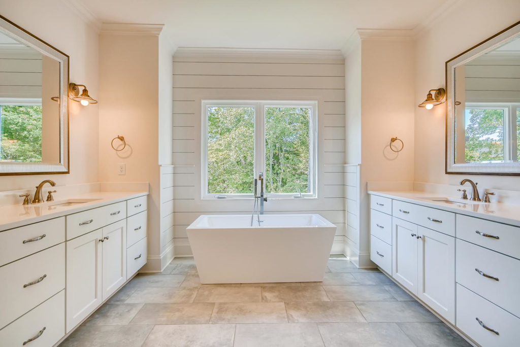 Gorgeous bathroom with deep soak tub