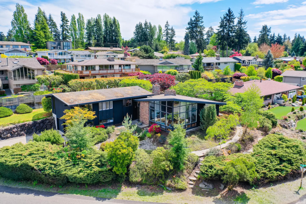 Aerial view of mid-century modern home