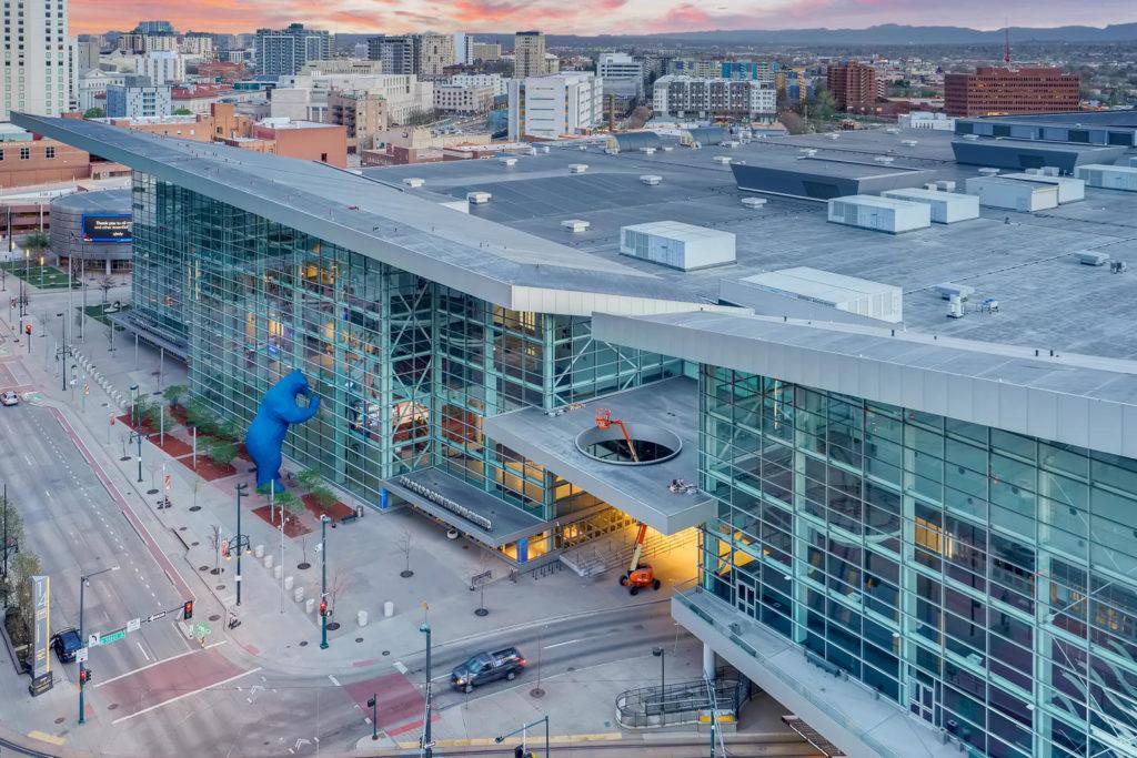 Denver convention center aerial shot
