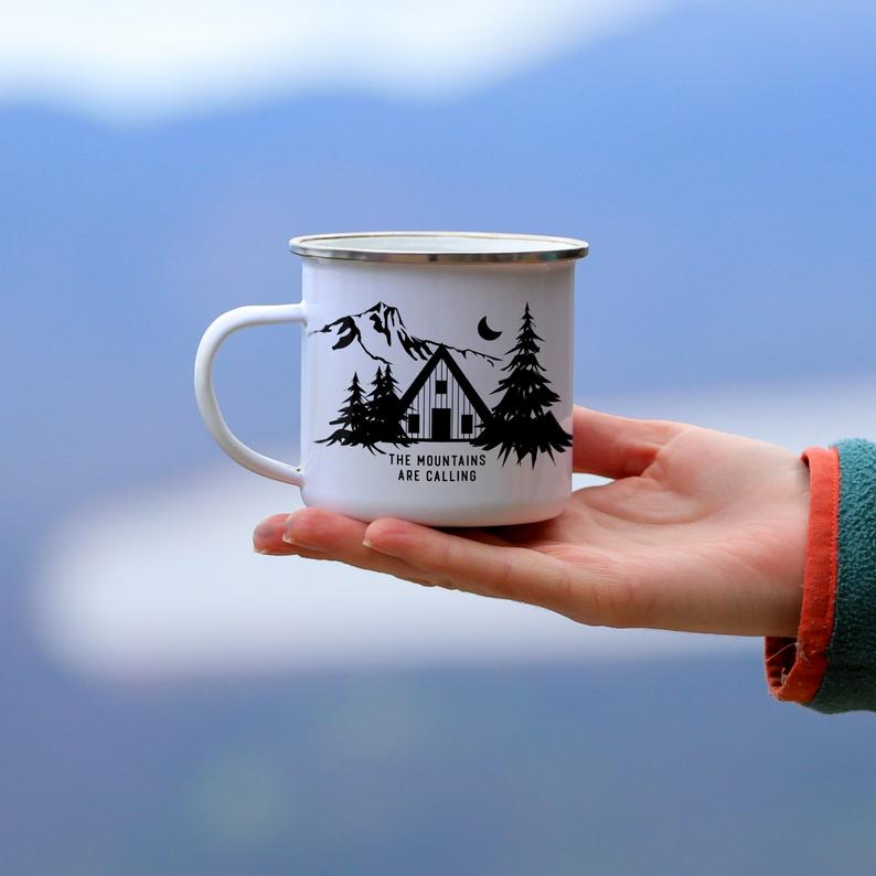 Campfire mug custom design for mountain living