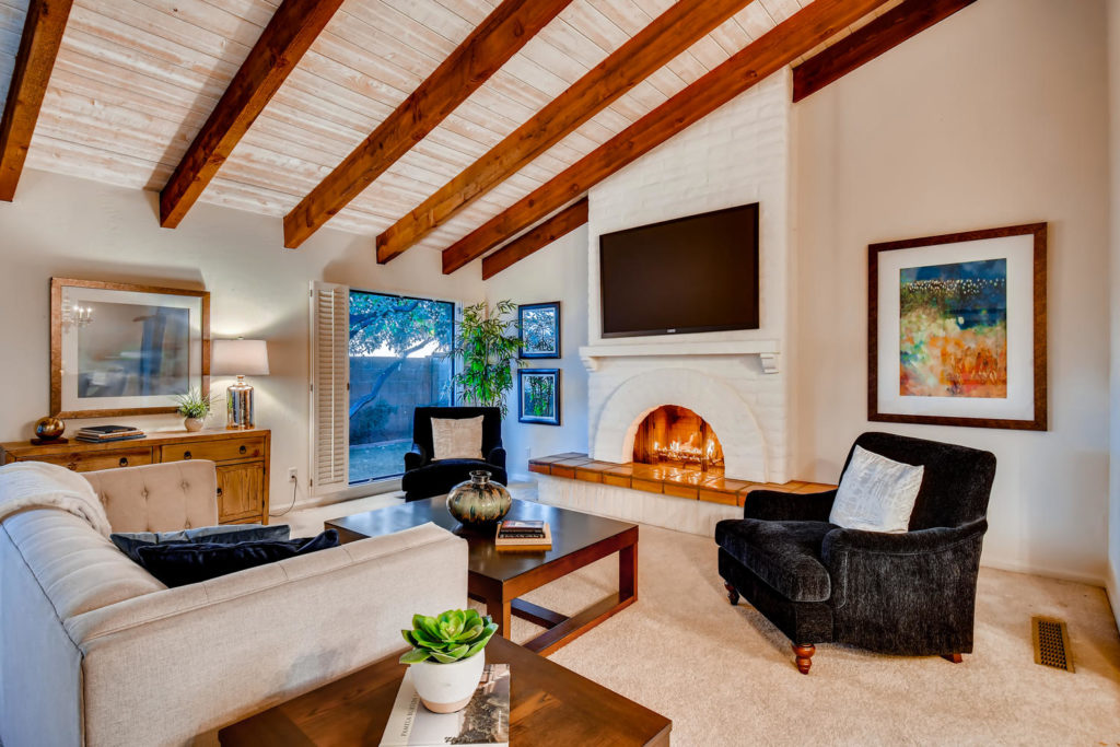 Living room in phoenix with beams
