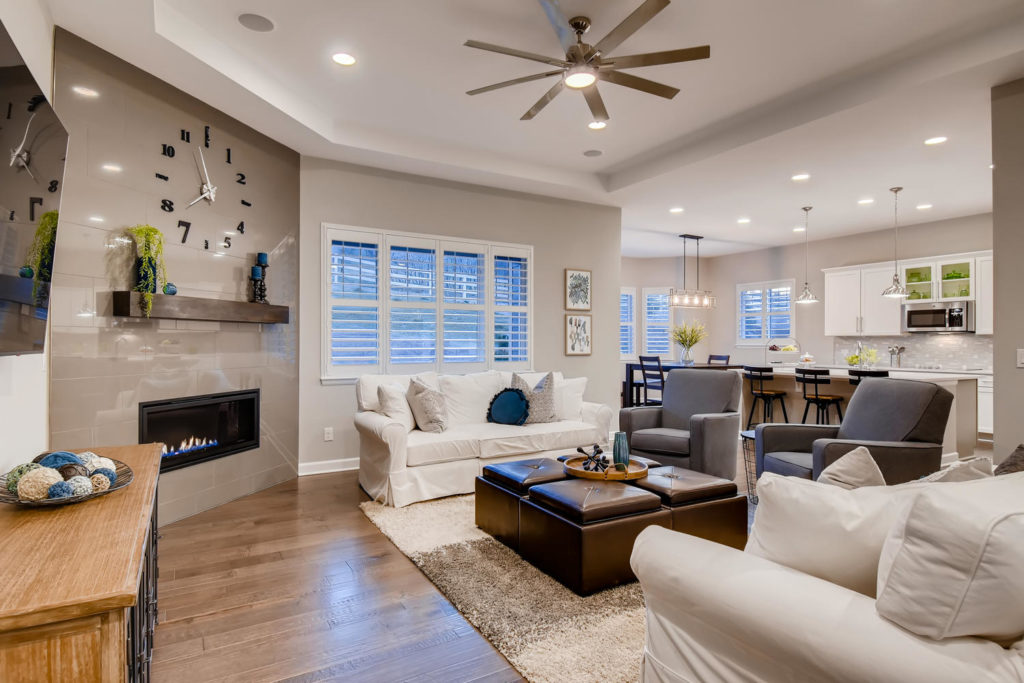 Neutral living room with fireplace feature