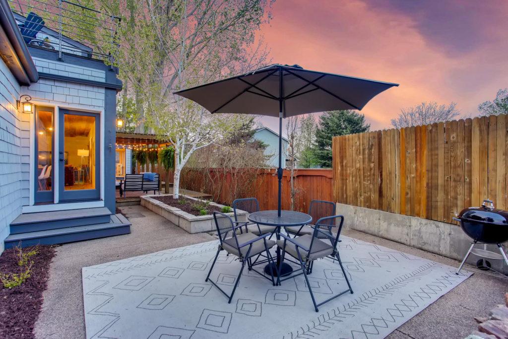 Backyard with sunset views