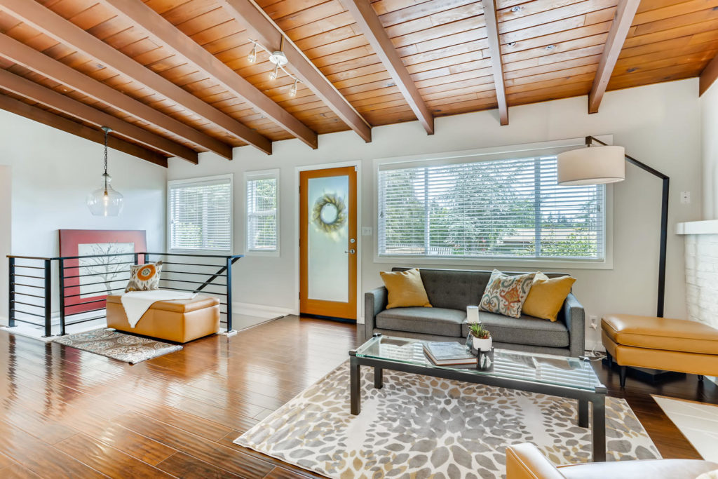 Living room with mid-century modern ceiling
