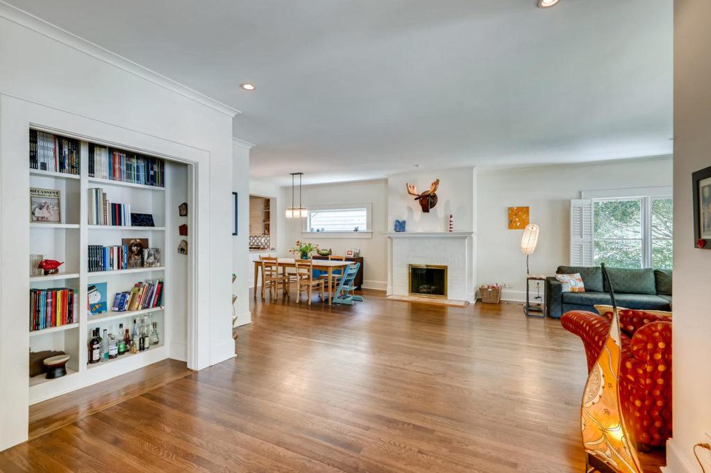 Atlanta living room with bookshelf and fireplace
