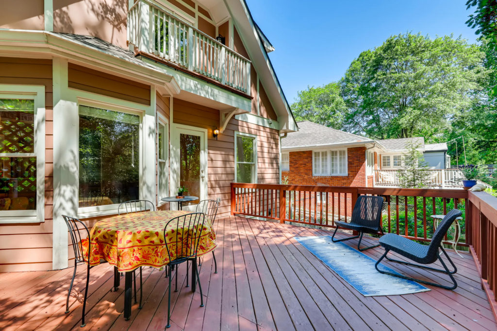 Backyard of Atlanta Home with table and sitting area