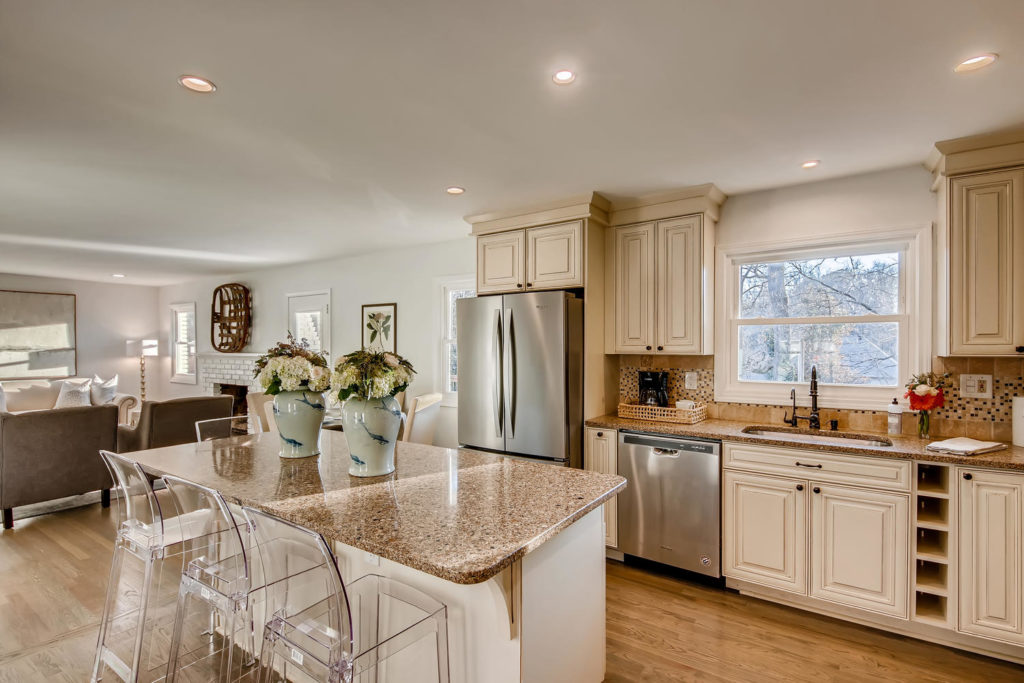 Atlanta kitchen with clear barstools