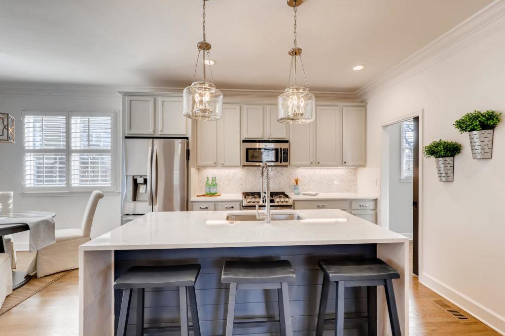 Atlanta kitchen with island and pendant lights