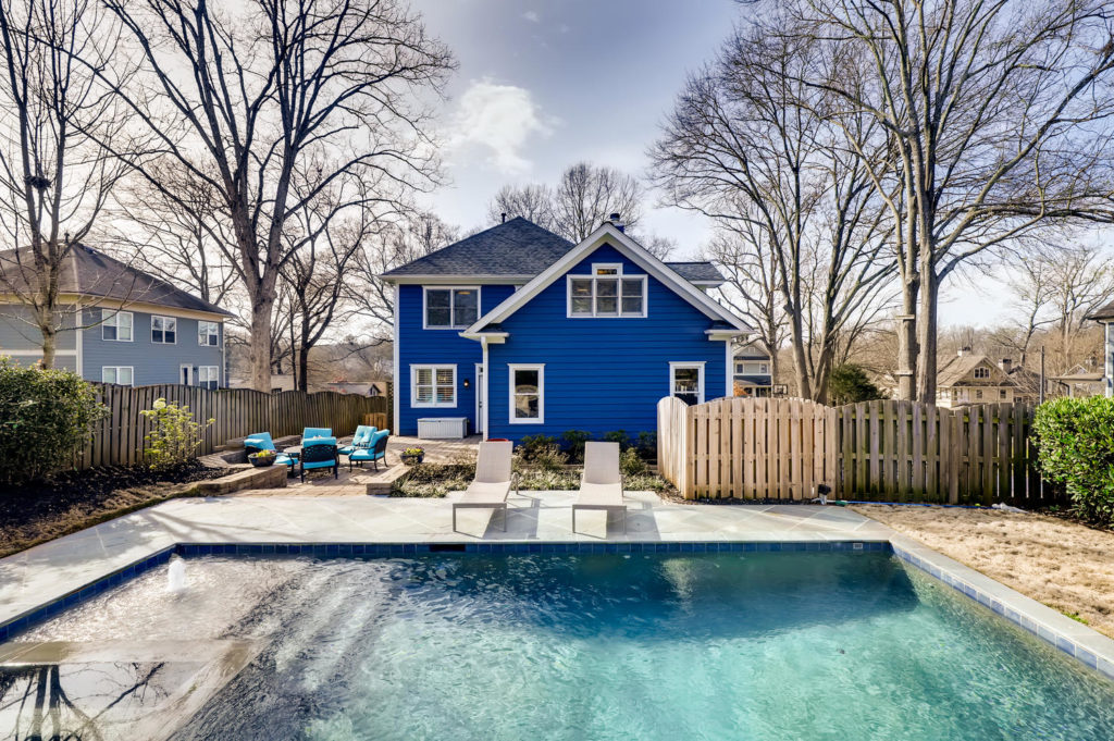 Blue house in Atlanta with a pool
