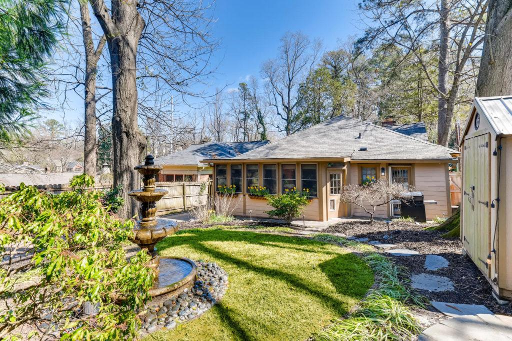 Backyard of Atlanta bungalow home