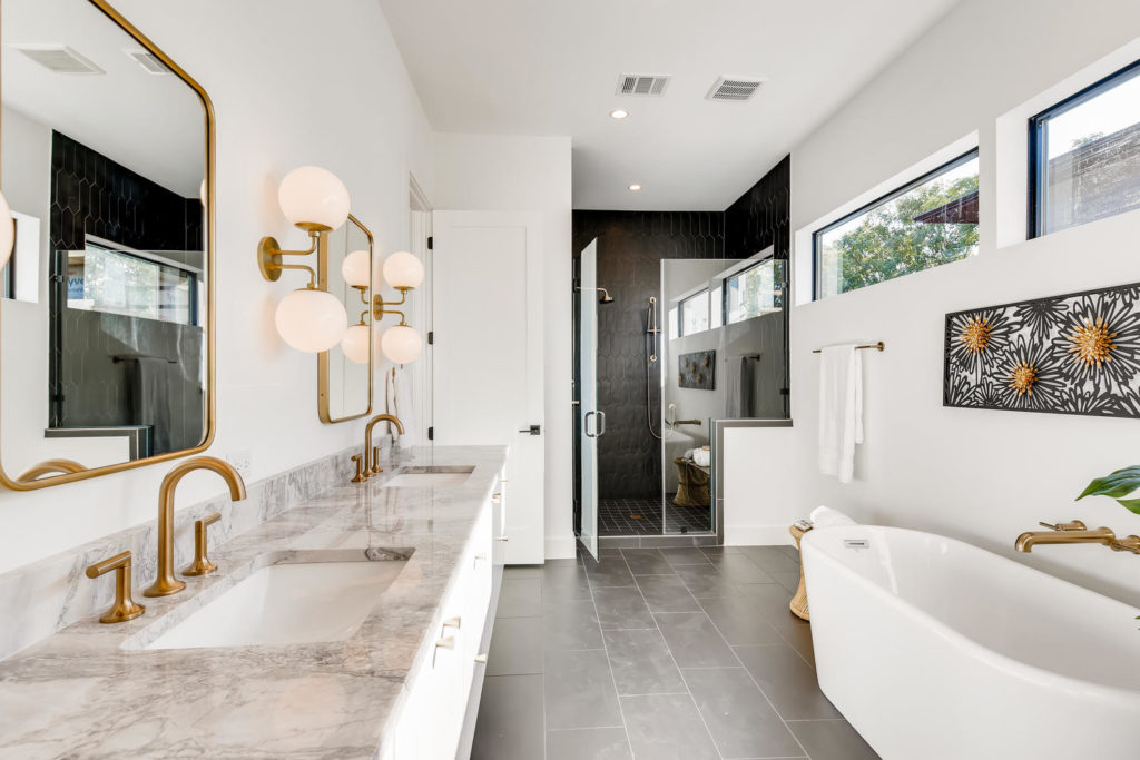Luxury bathroom in modern Austin home