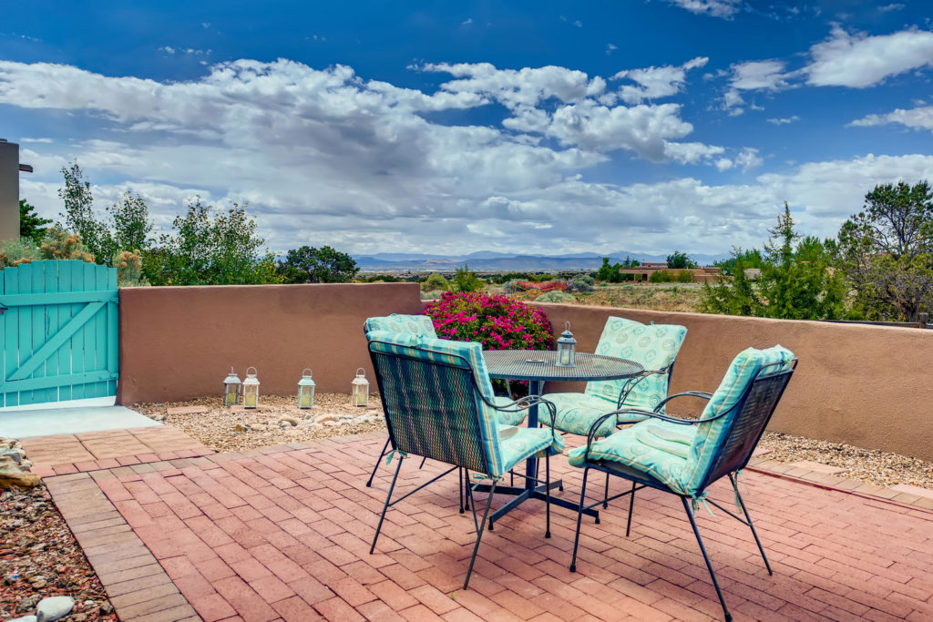 Rooftop patio at adobe house in Santa Fe