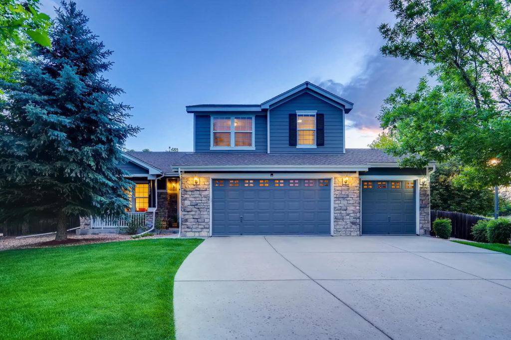 Denver home at twilight