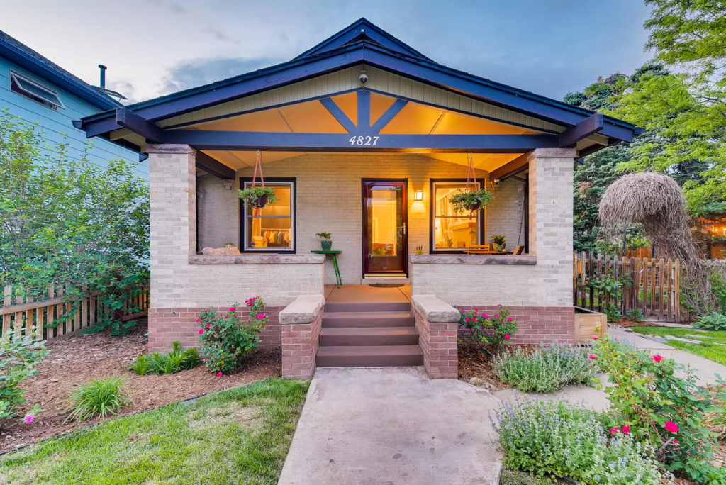 Denver area bungalow at twilight
