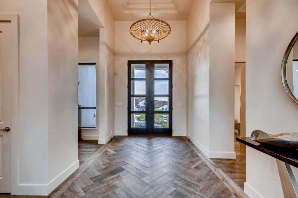 Foyer with large pendant