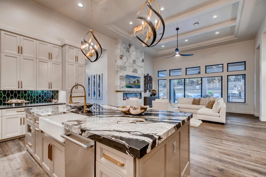 Kitchen island with unique quartz counters