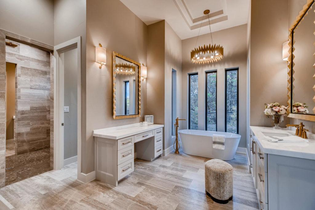 Luxury bathroom with deep soak tub