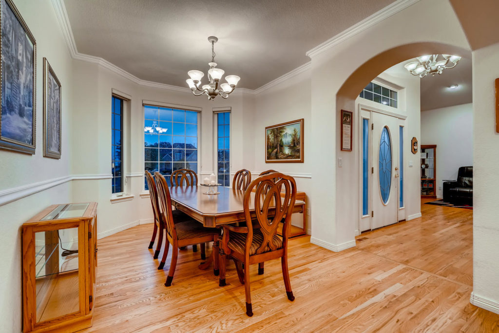 Dining room with arched doorway