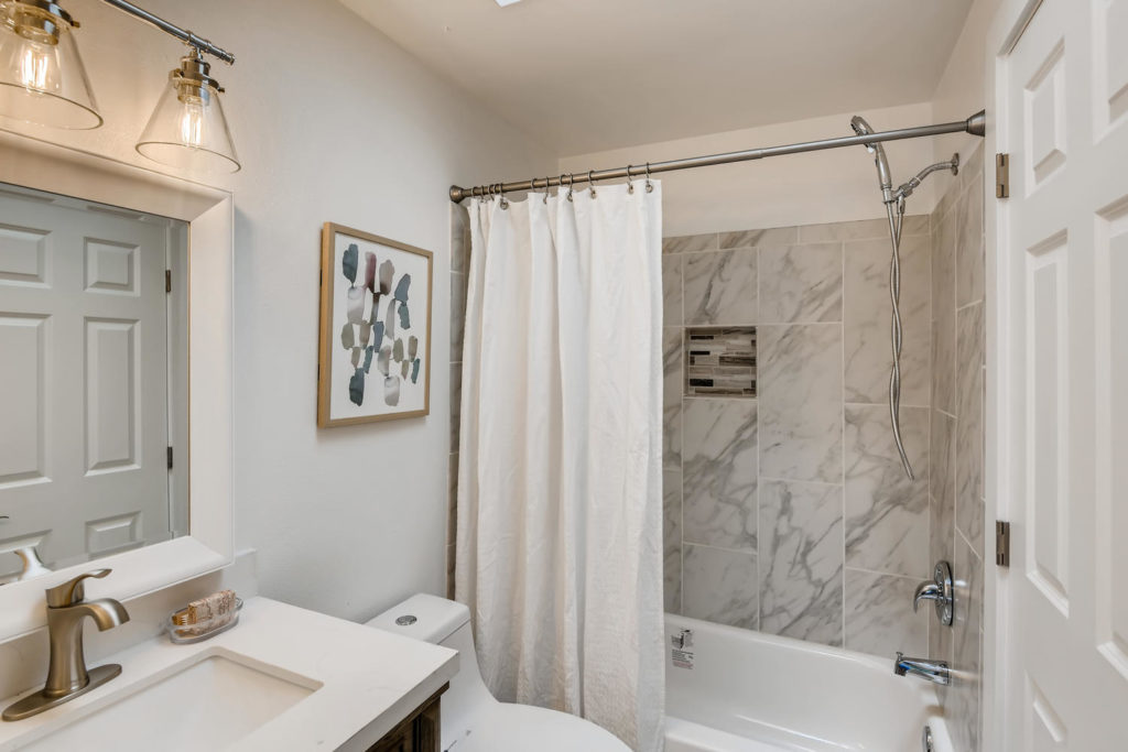 Bathroom with marble tiling