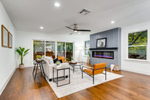 Atlanta Real Estate Photography - Living room with orange chairs