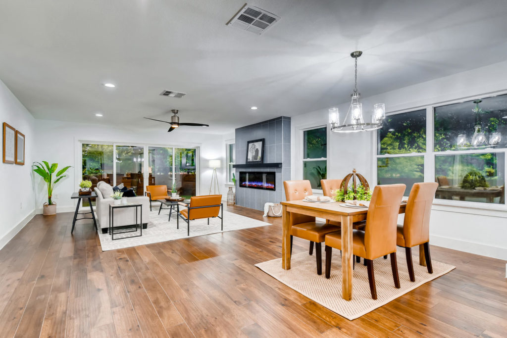 Modern dining and living room