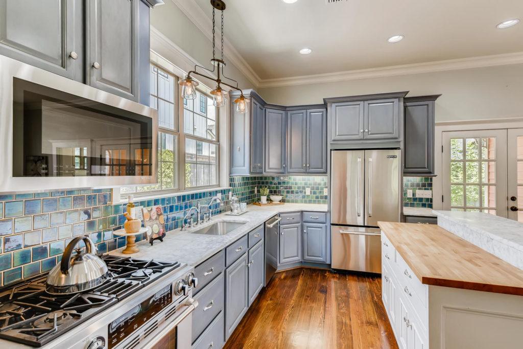blue kitchen in Austin tx - real estate image