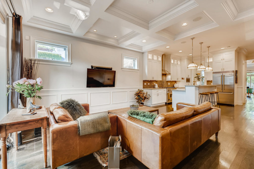 leather couched in living room - Chicago real estate images