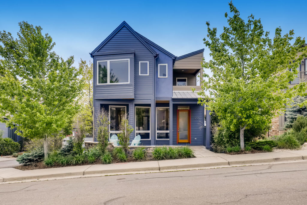 real estate photography - blue house in boulder