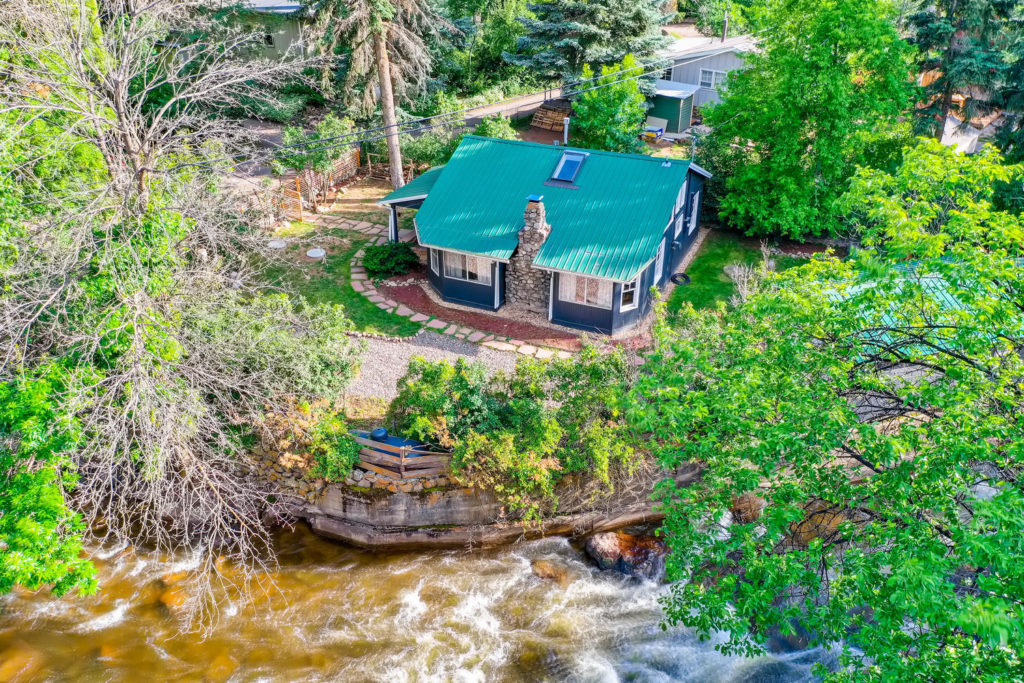 real estate photography - drone river view