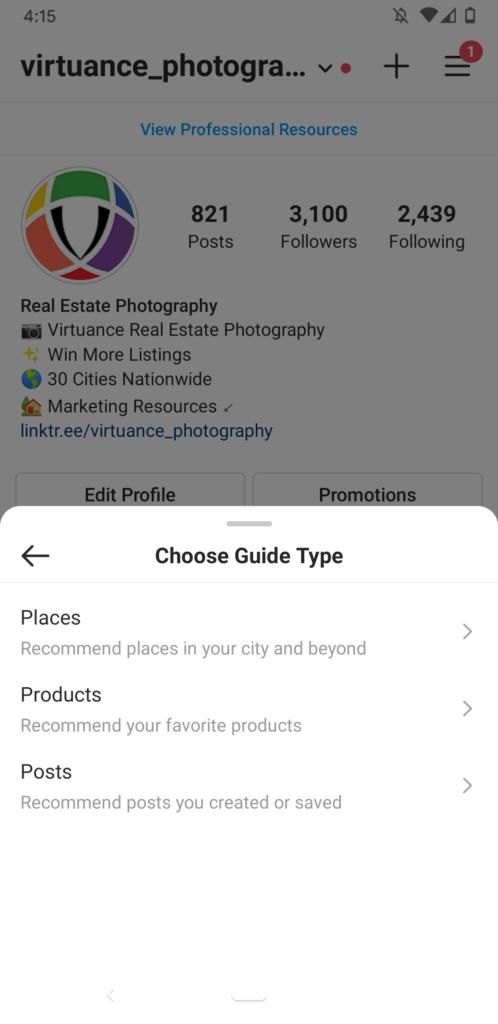Instagram - Guide Type