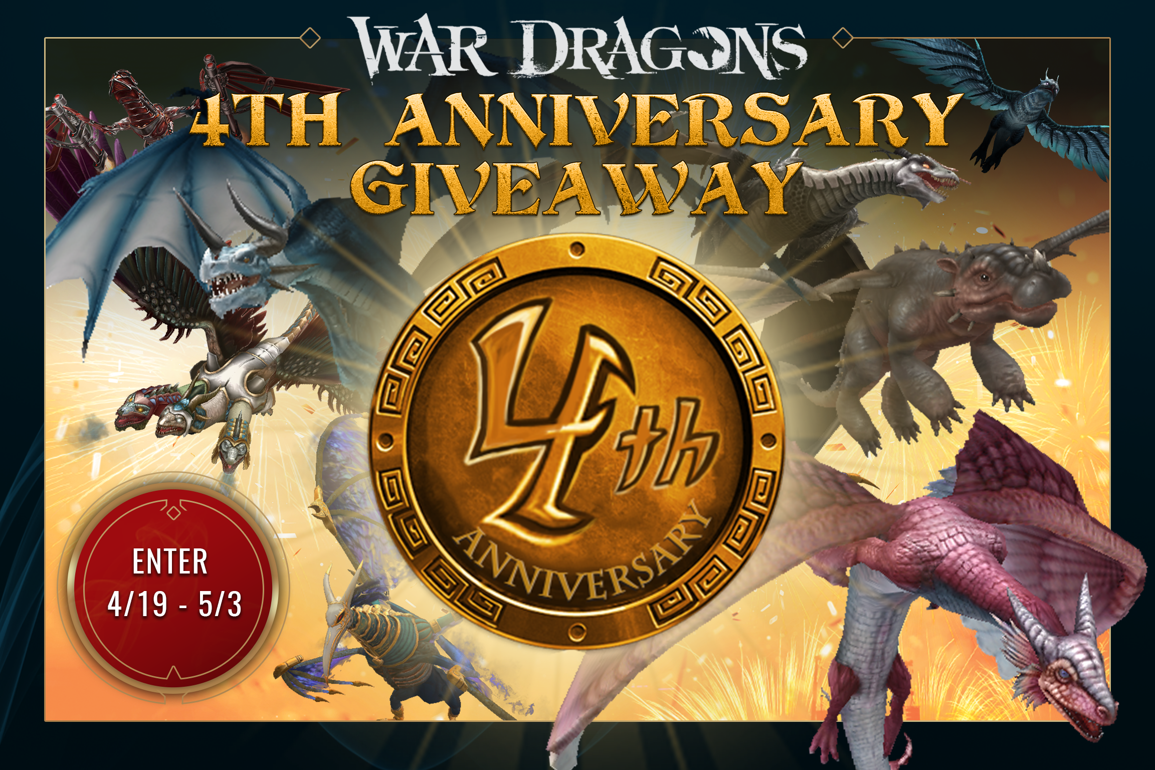 War Dragons 4th Anniversary Giveaway 2019