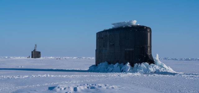 Three U.S. and British Submarines Meet at the North Pole