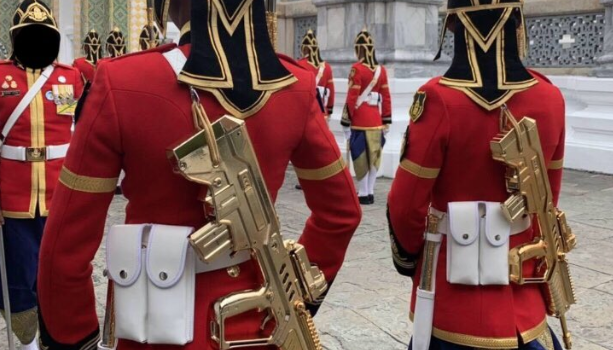 Royal Thai King's Guard sport gold plated bullpup rifles during coronation ceremony