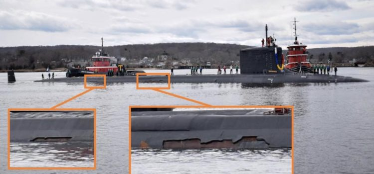 "US Navy submarine spotted with massive damage to its ""stealth"" coating"