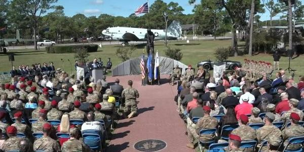 Statue of Medal of Honor recipient Master Sgt. John Chapman unveiled at Pope army Airfield