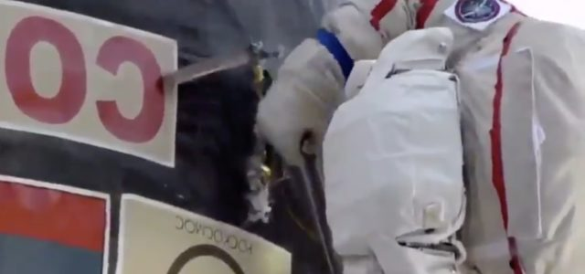 Video shows Cosmonaut cutting through International Space Station with a combat knife