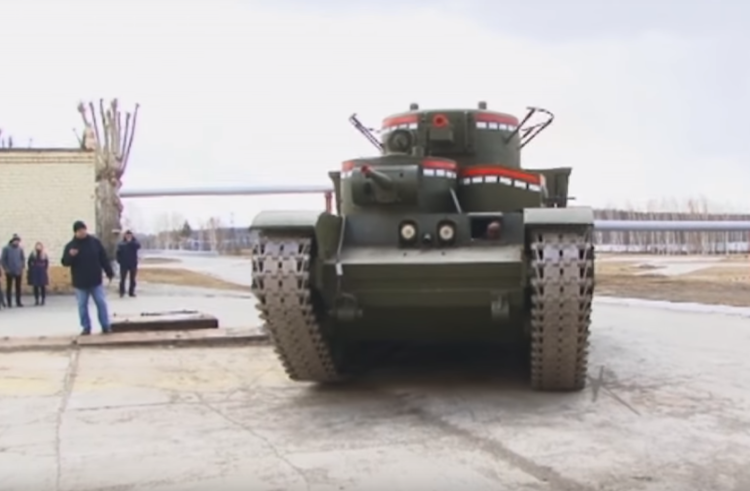 A Gigantic T-35 Tank Rolls Out of a Factory, 80 Years After Production Ended
