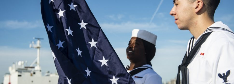 Union Jack flag flies on U.S. destroyer in honor of Battle of Midway