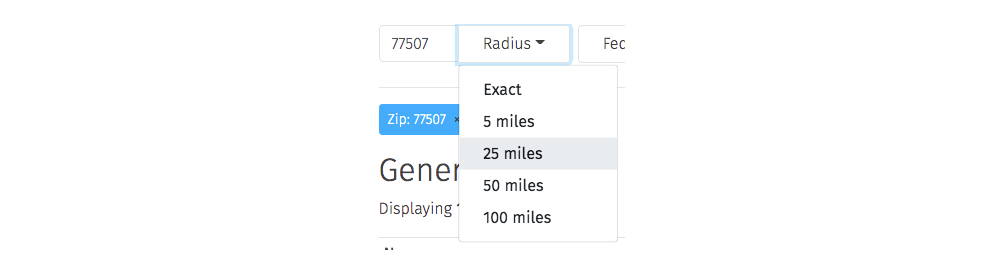 search by radius in miles