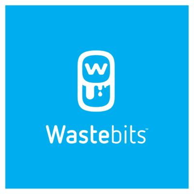 Wastebits Logo White On Blue Vertical