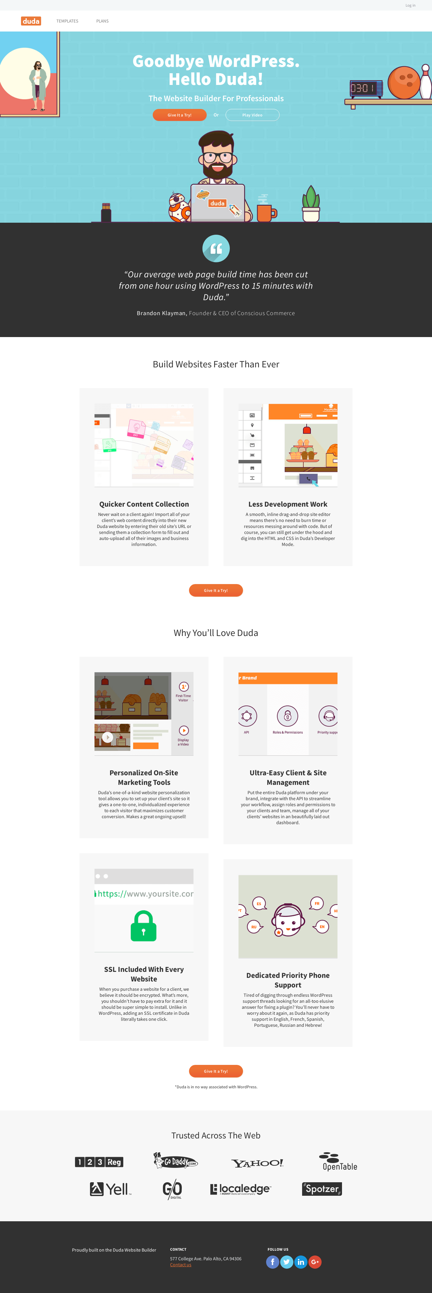 Landing Page Example: wp duda co