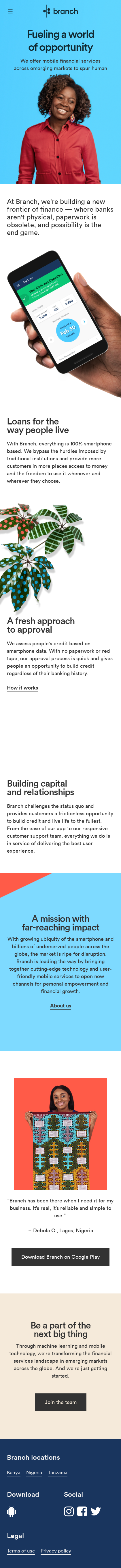 Example of Design for Finance, Banking, Mobile Landing Page by branch.co | Mobile Landing Page Design