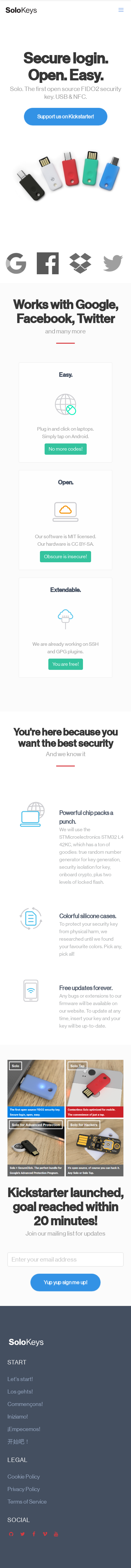 Example of Design for Computers & Electronics, Computer Security, Mobile Landing Page by solokeys.com | Mobile Landing Page Design