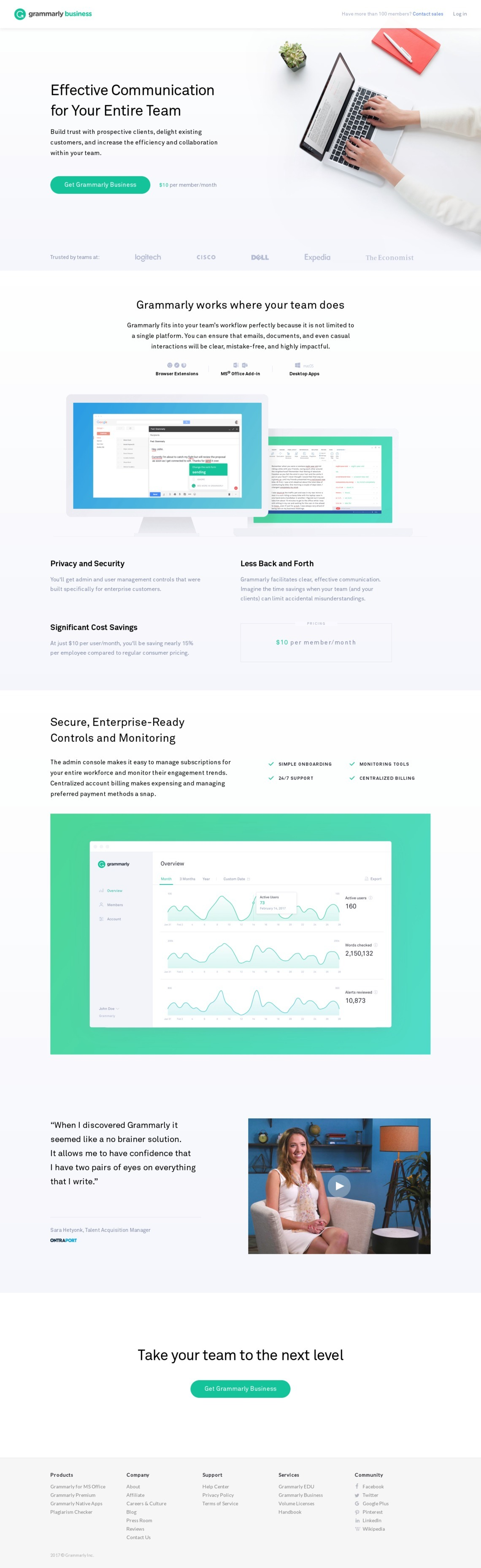 Landing Page Example: grammarly com