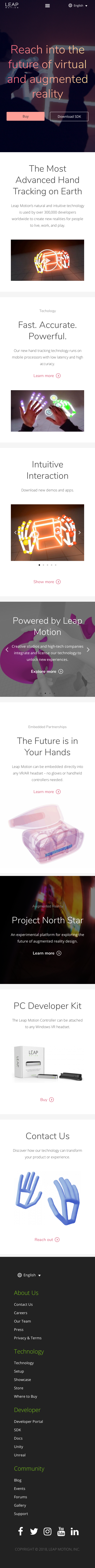 Example of Design for Science, Engineering & Technology, Mobile Landing Page by leapmotion.com   Mobile Landing Page Design
