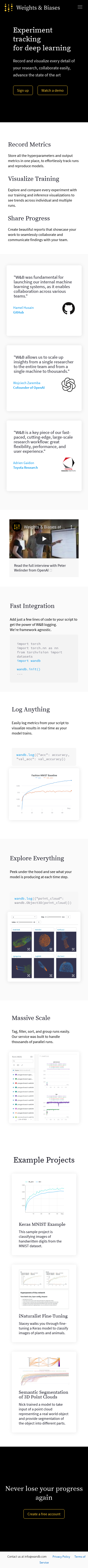 Example of Design for Science, Computer Science, Mobile Landing Page by wandb.com | Mobile Landing Page Design