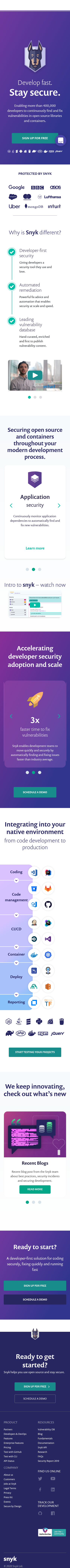 Example of Design for Computers & Electronics, Software, Mobile Landing Page by snyk.io | Mobile Landing Page Design