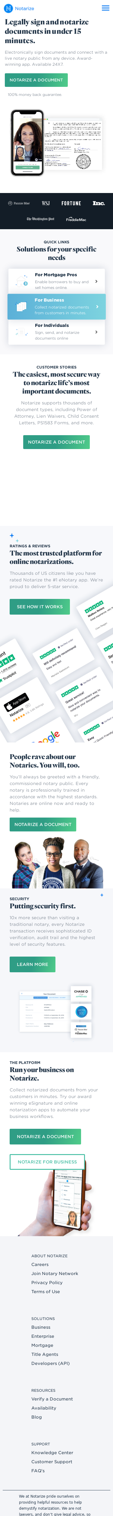 Example of Design for Uncategorized, Mobile Landing Page by notarize.com-V2 | Mobile Landing Page Design