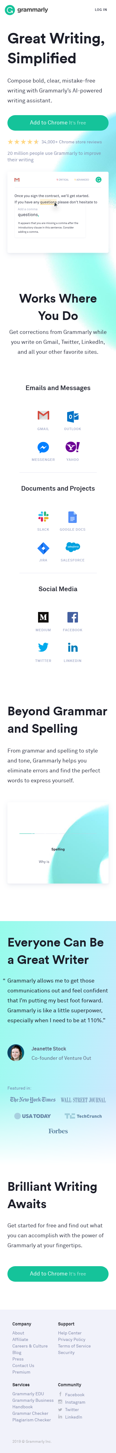 Example of Design for Books & Literature, Writers Resources, Mobile Landing Page by grammarly.com | Mobile Landing Page Design